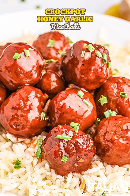 crockpot meatballs over rice