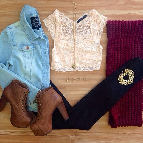 Red scarf, jean jacket, lace blouse, leggings and brown high heel boots