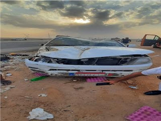 بالأسماء..إصابة 7  أشخاص إثر  انقلاب سيارة بطريق «السويس_ القاهرة»