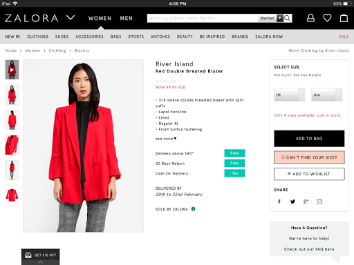 River Island Red Double Breasted Blazer