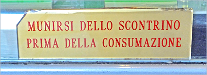 Sizilien - Mit diesem Schild wird um Bezahlung vor dem Verzehr gebeten.