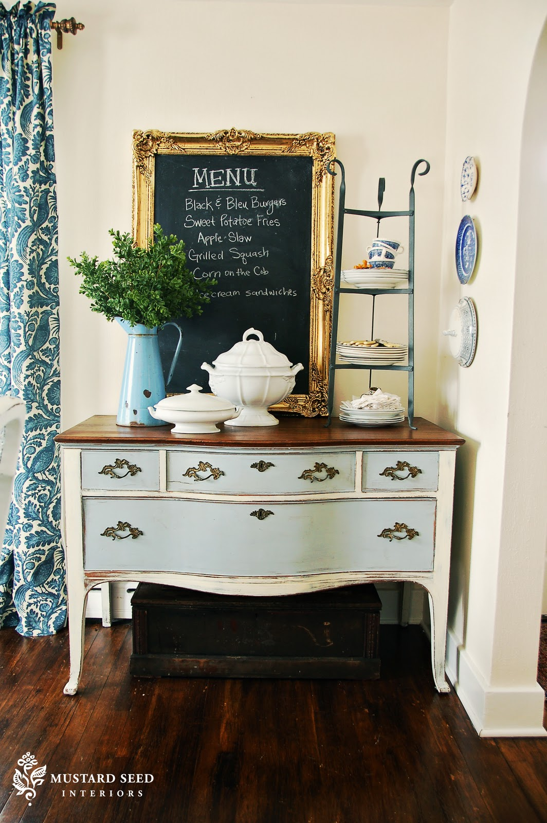 dining room cabinets - before & after - miss mustard seed