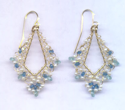 Pearl and Apatite Filigree Earrings by Melody MacDuffee