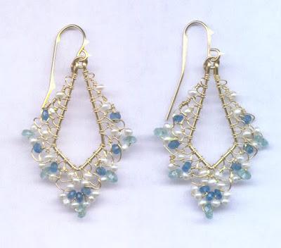 Pearl and Apatite Filigree Earrings by Melody MacDuffee