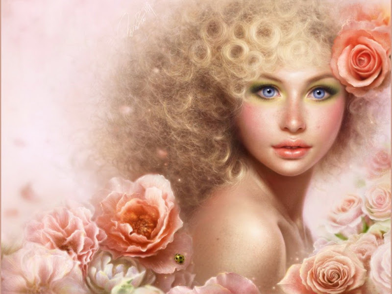 Pink Roses In Beauty Hairs, Magic Beauties 1