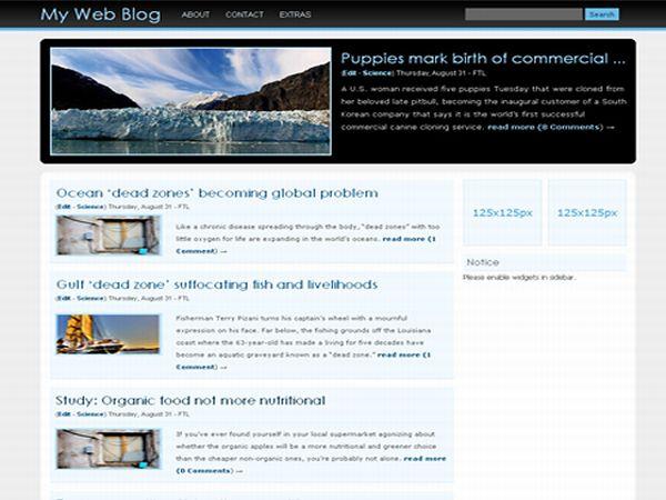 Free Wordpress Sea Waves Bleu Web2.0 Theme