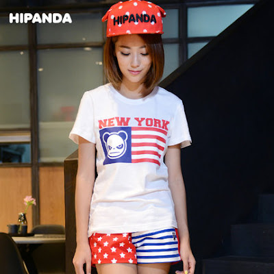 HIPANDA shirt with flag of the U.S. design
