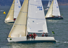 J/105 one-design sailboats- sailng upwind at Rolex Big Boat Series