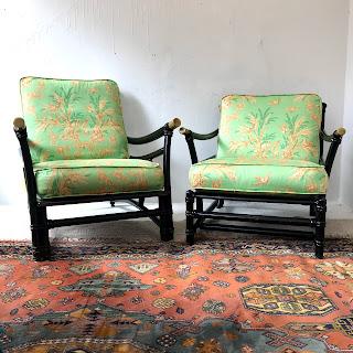 Heywood Wakefield Asian Black Wood Chair Pair