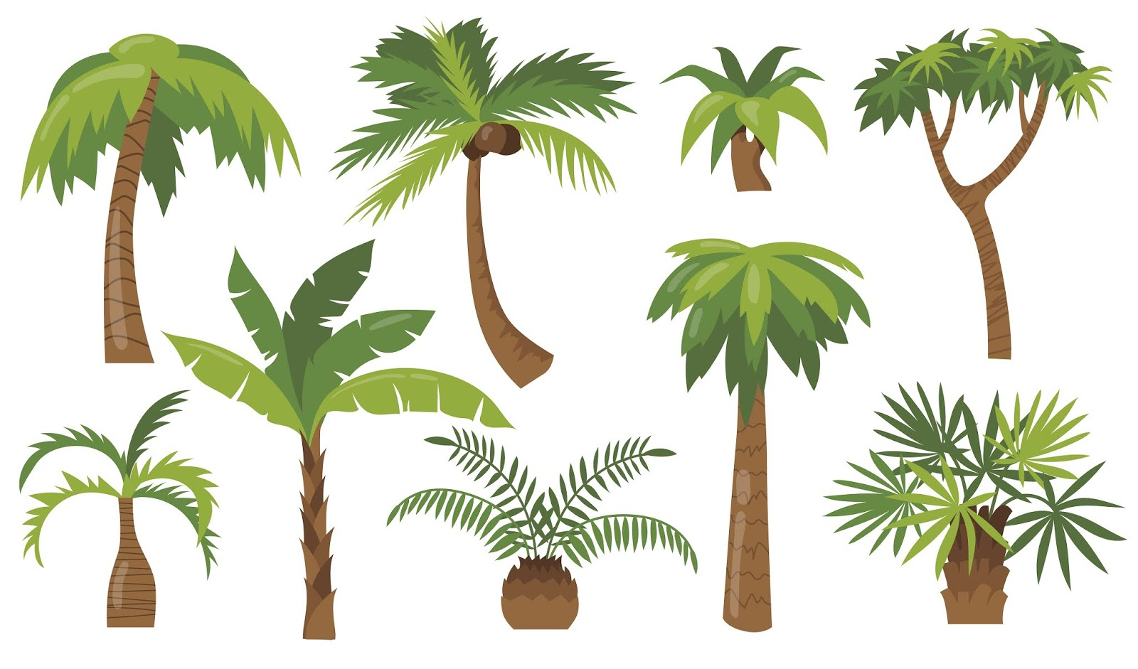 Various Cartoon Palm Trees Flat Icon Set Free Download Vector CDR, AI, EPS and PNG Formats