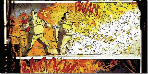 Lambik en Jerom moeten een brandje blussen (uit de persmap van Amoras)