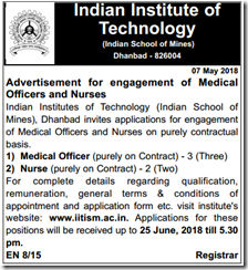 IIT Dhanbad Notification 2018 indgovtjobs