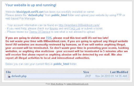 000WebHost, tampilan situs awal setalah aktif