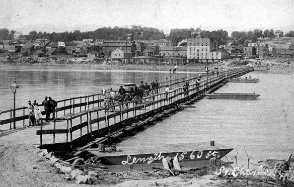 Pontoon Bridge 1890, looking at St. Charles from the Rock Road