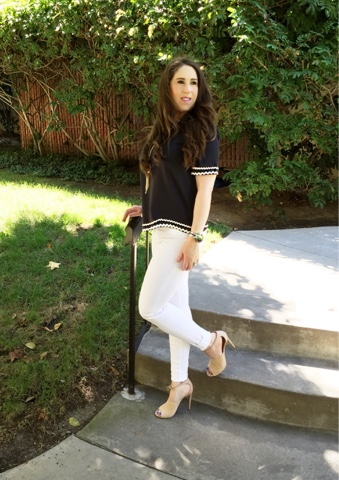 The High Heeled Brunette rocks her Shein top and white Frame Denim with Aquazzura shoes