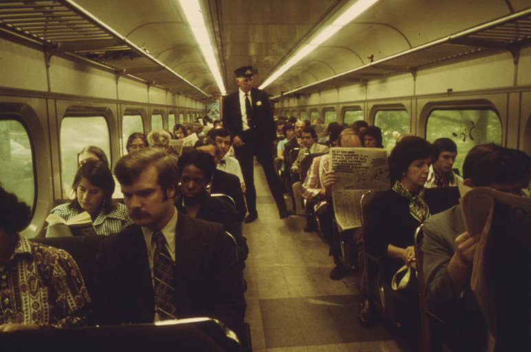 COMMUTERS ON A FULL SOUTHEASTERN PENNSYLVANIA TRANSPORTATION AUTHORITY (SEPTA) TRAIN AS IT HEADS FOR DOWNTOWN... - NARA - 556780.jpg By Jim Pickerell, Photographer (NARA record: 4588217) (U.S. National Archives and Records Administration) [Public domain], via Wikimedia Commons