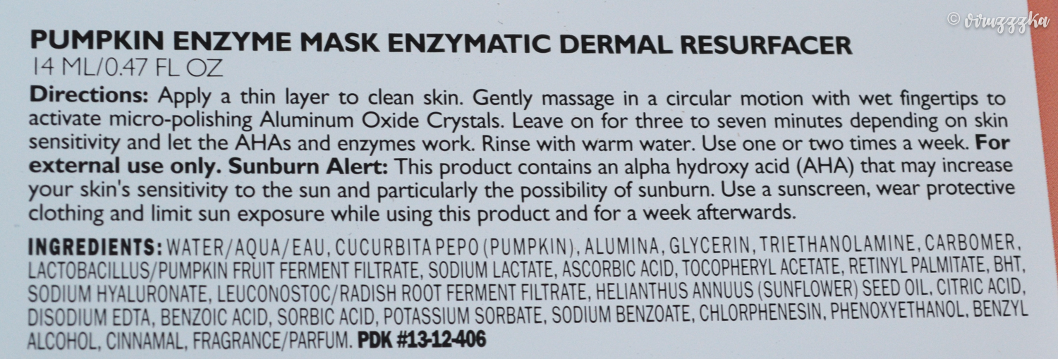 Peter Thomas Roth Pumpkin Enzyme Mask Review Ingredients