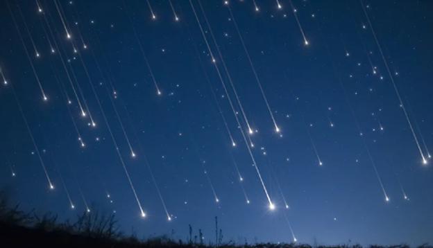 Ilustrasi : Hujan meteor di langit