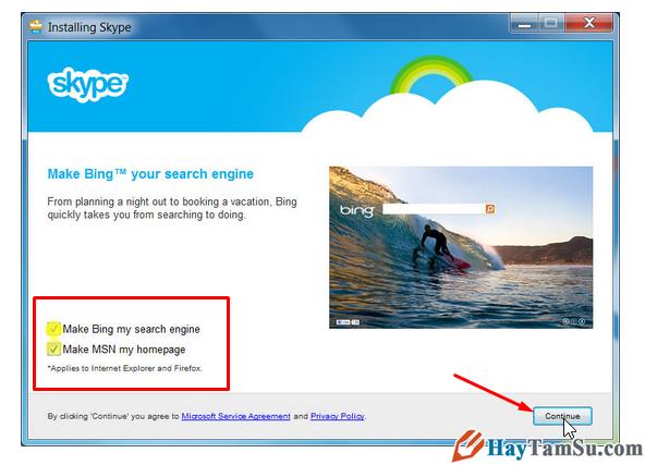 Lựa chọn cài đặt Bing hay không bing