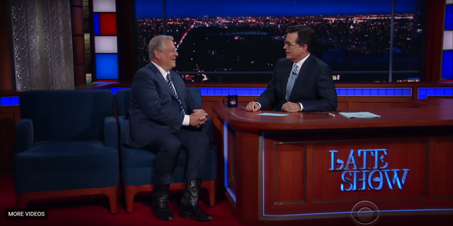 Screenshot of Al Gore's appearance on Stephen Colbert's 'Late Show', 17 July 2017. Photo: The Late Show