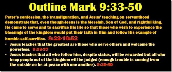 Mark 9.33-50 outline
