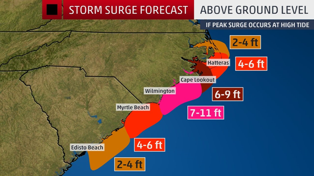 Storm-Surge Forecast for North Carolina and South Carolina for Hurricane Florence landfall on 14 September 2018. Data: National Hurricane Center. Graphic: The Weather Channel