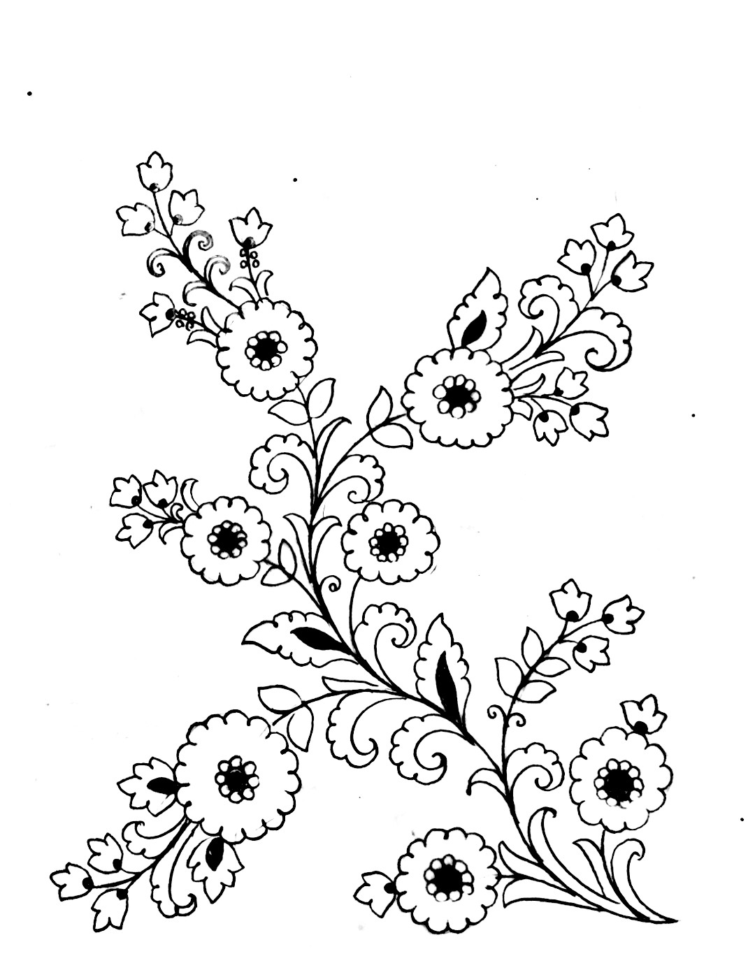 Flowers design patterns drawing for hand emroidery designs/ how to make embrodiary design's sketches on paper. Saree design pencil sketch for hand work.
