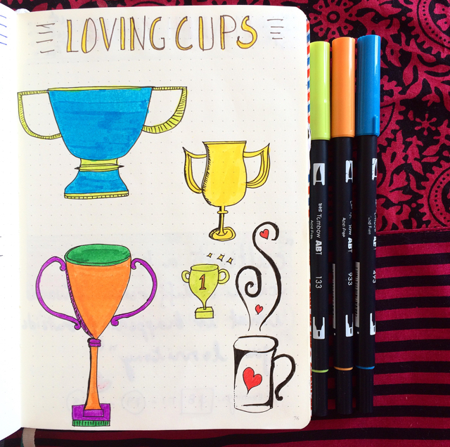 #100DaysOfDoodles | Day 52 | Loving Cups | The 100 Day Project