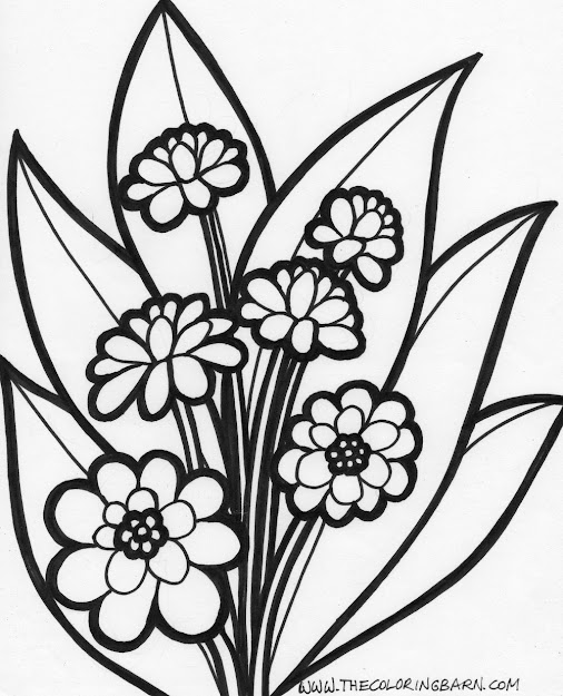 Printable Flowers To Color Flower Coloring Pages Printable Flower  Coloring Page Special Free