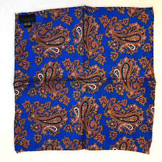 Saks Fifth Avenue Blue Paisley Pocket Square