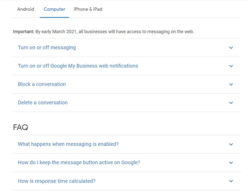 Goggle MyBusiness Messaging