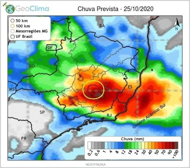 Ciclone subtropical pode provocar chuva de até 100 milímetros no domingo em Minas