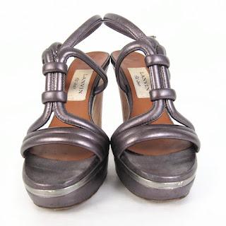 Lanvin Wood Heel Platform Sandals