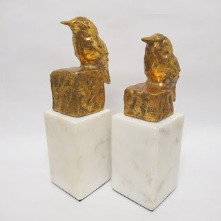 Gilt & Stone Bookends