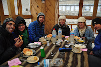 Another cold dinner for the APC Team.  Note the Meshkovs Yak Cheeses Toast toast.