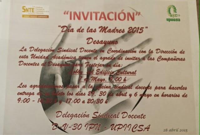 InvitaciÓn A Desayuno DÍa De Las Madres: PROFESORES DE UPIICSA: INVITACIÓN A TODAS LAS PROFESORAS
