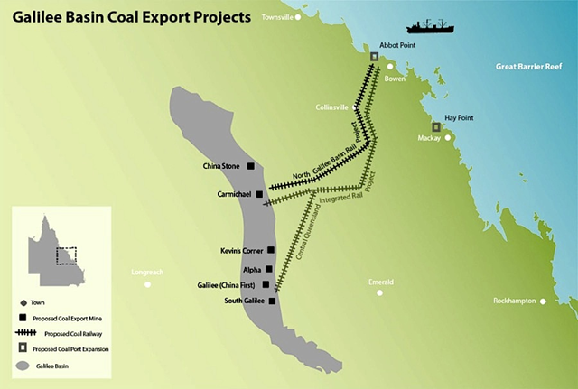 Galilee Basin coal export projects map, showing coal mines in Queensland, Australia. Graphic: GalileeBasin.org