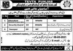This page is about Punjab Technical Education and Vocational Training Authority (TEVTA) Jobs April 2021 Latest Advertisment. Punjab Technical Education and Vocational Training Authority (TEVTA) invites applications for the posts announced on a contact / permanent basis from suitable candidates for the following positions such as Attendant, Security Guard, Sweeper. These vacancies are published in Dunya Newspaper, one of the best News paper of Pakistan. This advertisement has pulibhsed on 30 April 2021 and Last Date to apply is 08 May 2021.