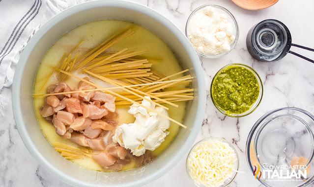 chicken pesto pasta in the instant pot