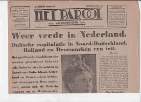 Het Parool 8 mei 1945, Enschede, Weer vrede in Nederland. http://www.secondworldwar.nl/enschede/