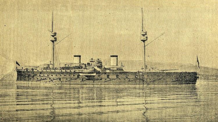 2- El acorazado PELAYO en estado de origen. De la Revista de Navegación y Comercio. Edición de 10 de Enero de 1882.JPG