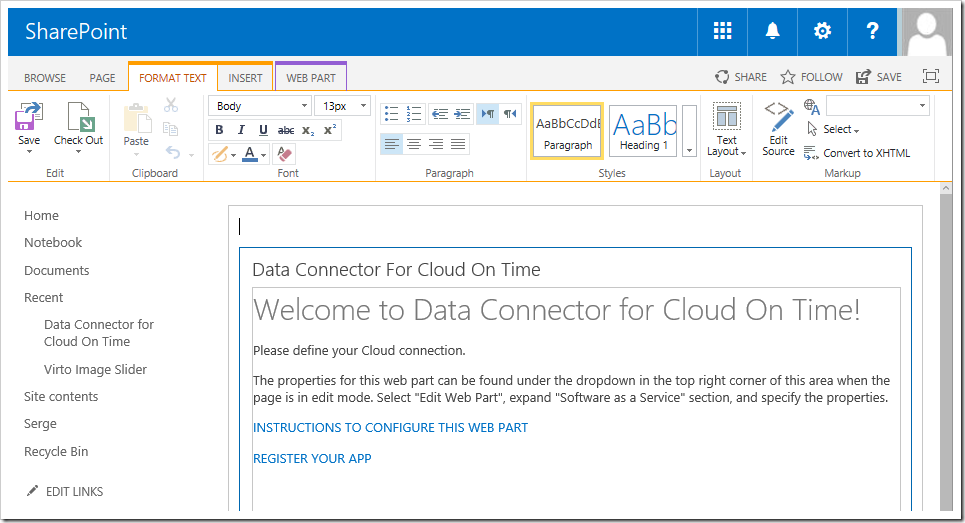 "The ""Data Connector For Cloud On Time"" web part has been added to the page."