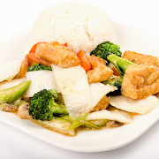 Stir fried mixed Vegetables with Tofu on Steamed rice