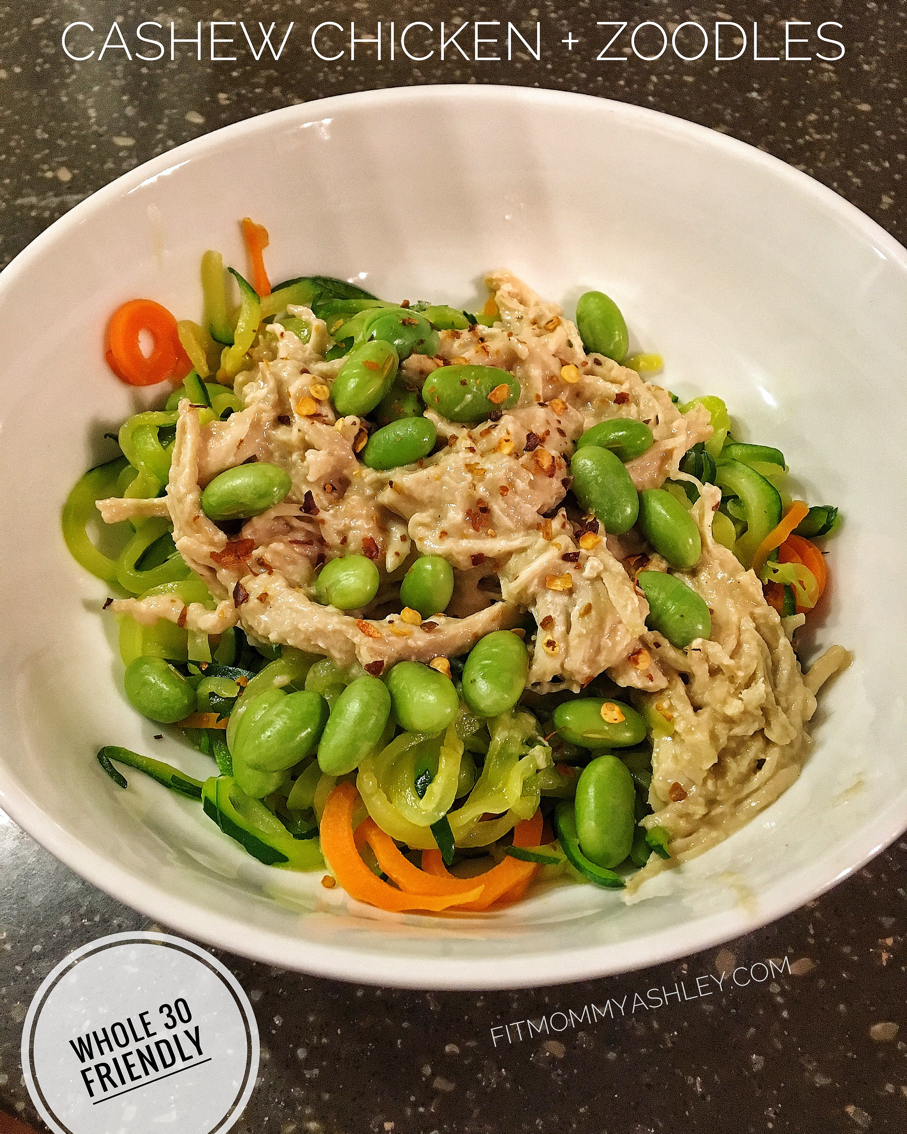 cashew chicken, clean, zoodles, Whole 30, Low Carb, fitmommyashley, Ashley Roberts, dinner, easy, gluten free
