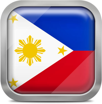 Philippines square flag with metallic frame