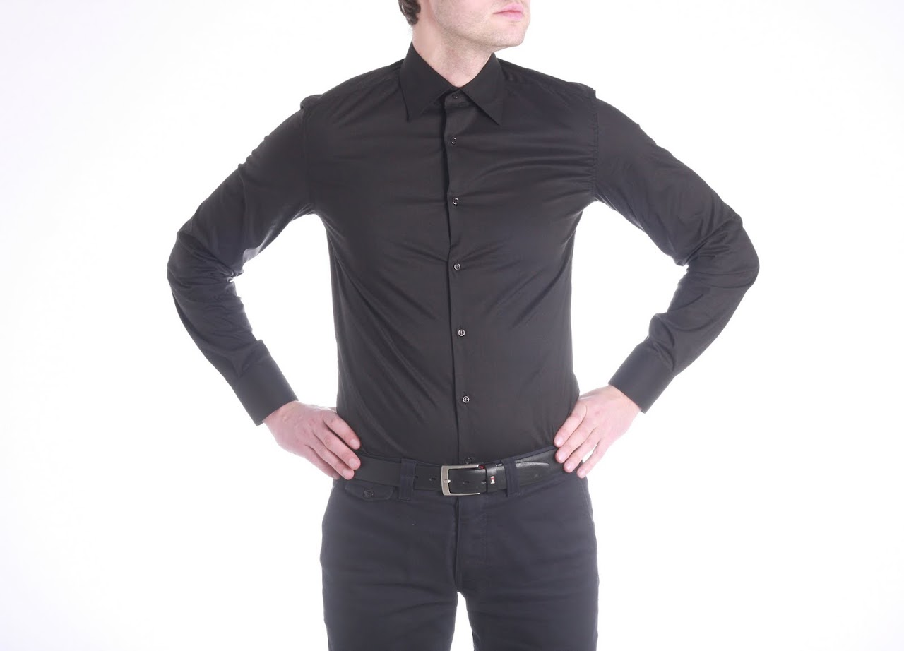 Camasa Calvin Klein Collection, model Slim Fit, pe Negru