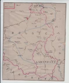 Kaart van het ardennenoffensief, getekend aan de hand van berichten van de Britse radiouitzendingen door een Joodse onderduiker die in 1944 aan de Everhardt van der Marckstraat in Enschede zat ondergedoken. http://www.secondworldwar.nl/enschede