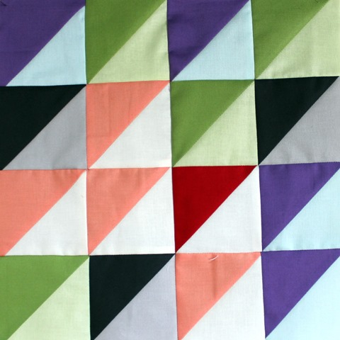 half square triangle block by kim lapacek