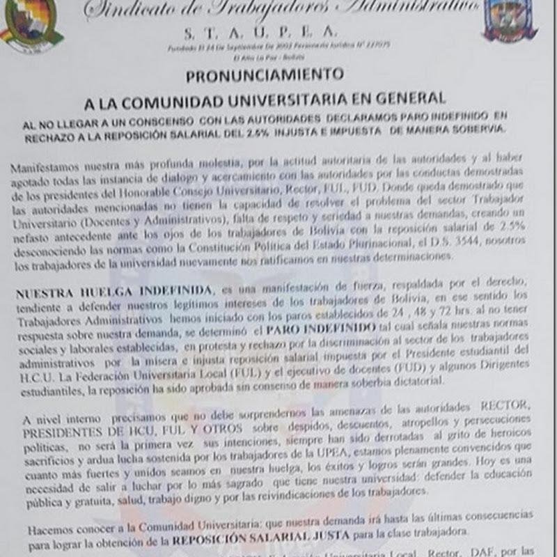 Administrativos de la UPEA van al paro indefinido