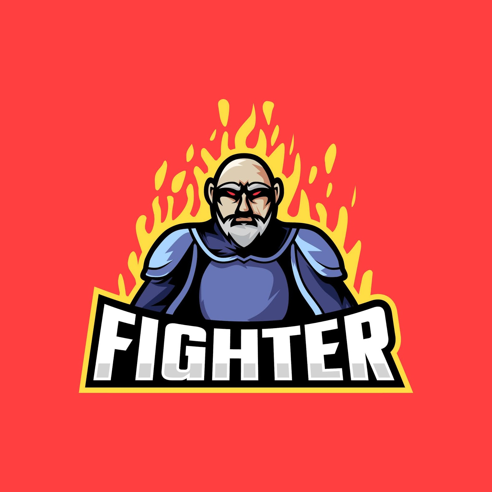 Strong Fighter With Fire Illustration Free Download Vector CDR, AI, EPS and PNG Formats